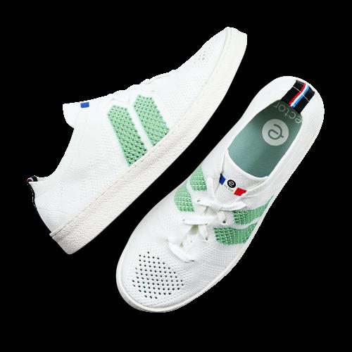 Baskets françaises été blanche verte clair Ector