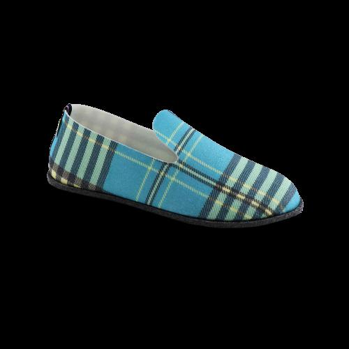 Chaussons écologiques ronds carreaux bleus Soft'in