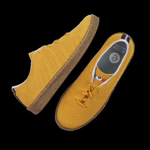 Baskets françaises été jaune moutarde semelle crêpe Ector