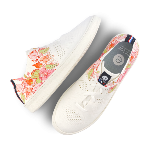 Sneakers fleurs été blanc Ector